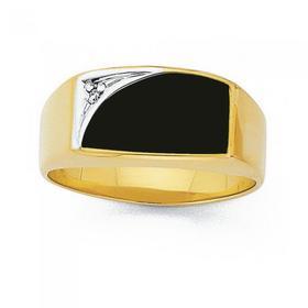 9ct-Gold-Onyx-Diamond-Gents-Ring on sale