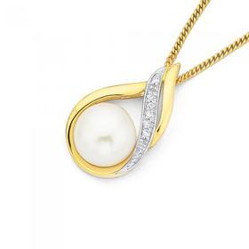9ct-Freshwater-Pearl-Diamond-Pendant on sale