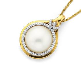 9ct-Gold-Cultured-Mabe-Pearl-and-Diamond-Enhancer-Pendant on sale