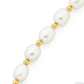 9ct-Gold-45cm-Cultured-Fresh-Water-Rice-Pearl-Rondell-Necklace-with-Filigree-Clasp on sale