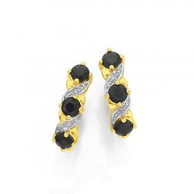 9ct-Gold-Sapphire-and-Diamond-Hoop-Earrings on sale