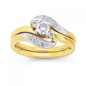 9ct-Gold-Diamond-Swirl-Bridal-Ring-Set on sale