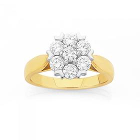 18ct-Gold-Diamond-Large-Cluster-Engagement-Ring on sale