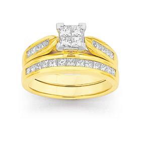 18ct-Gold-Diamond-Princess-Cut-Invisible-Set-Bridal-Ring-Set on sale