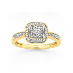 9ct-Gold-Diamond-Cushion-Framed-Ring on sale