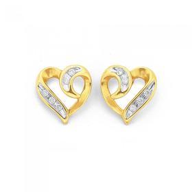 9ct-Gold-Diamond-Heart-Stud-Earrings on sale