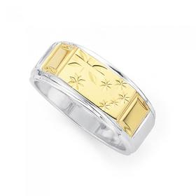 9ct-Gold-Sterling-Silver-Gents-Ring on sale