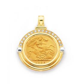 9ct-Gold-Diamond-Set-Half-Sovereign-Pendant on sale