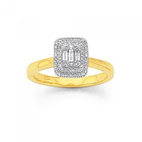 9ct-Gold-Diamond-Cluster-Ring on sale