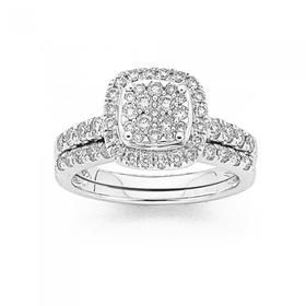 18ct-White-Gold-Diamond-Bridal-Ring-Set on sale