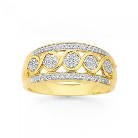 9ct-Gold-Diamond-Swirl-Ring on sale