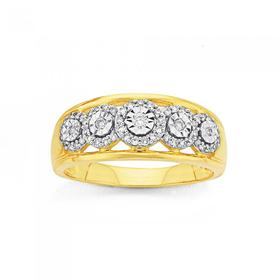 9ct-Gold-Diamond-Cluster-Anniversary-Ring on sale
