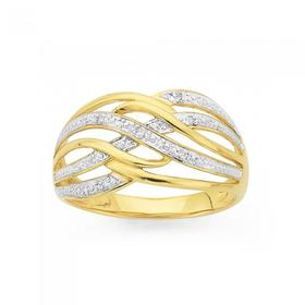 9ct-Gold-Diamond-Multi-Wave-Dress-Ring on sale