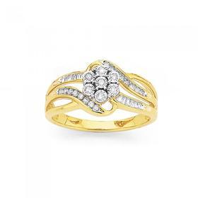 9ct-Gold-Diamond-Cluster-Swirl-Dress-Ring on sale