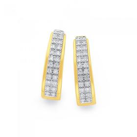 9ct-Gold-Pave-Diamond-Huggie-Earrings on sale