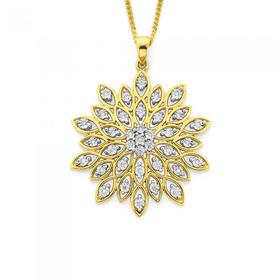 9ct-Gold-Diamond-Fancy-Flower-Pendant on sale