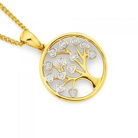 9ct-Gold-Diamond-Tree-of-Life-in-Circle-Pendant on sale