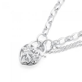 Sterling-Silver-White-CZ-Butterfly-Oval-Belcher-Padlock-Bracelet on sale