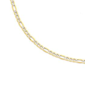 9ct-Two-Tone-55cm-Figaro-31-Chain on sale