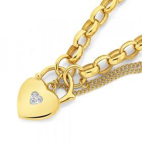 9ct-Gold-19cm-Oval-Belcher-Diamond-Padlock-Bracelet on sale