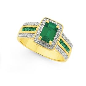 9ct-Gold-Created-Emerald-Diamond-Dress-Ring on sale