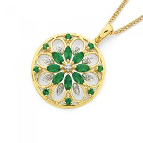 9ct-Gold-Created-Emerald-Diamond-Flower-Cluster-Pendant on sale
