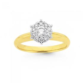 18ct-Gold-Diamond-Cluster-Ring on sale