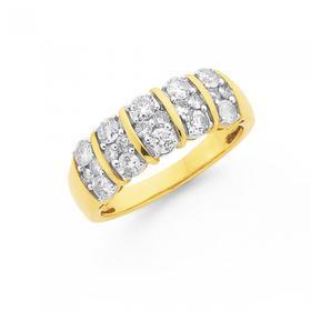 9ct-Gold-Diamond-Wide-Bar-Band on sale