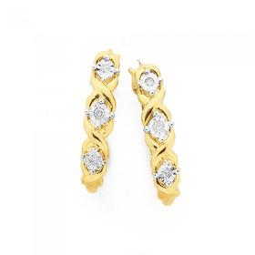 9ct-Gold-Diamond-Crossover-Hoop-Earrings on sale