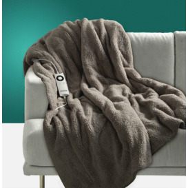 Sherpa-Fleece-Grey-Heated-Throw on sale