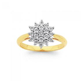 9ct-Gold-Diamond-Starburst-Cluster-Ring on sale