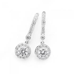 Sterling-Silver-Round-Cubic-Zirconia-Drop-Earrings on sale