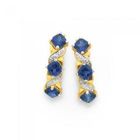 9ct-Gold-Created-Sapphire-Diamond-Huggie-Earrings on sale