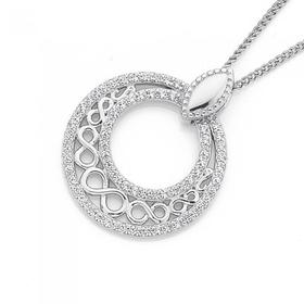 Sterling-Silver-Infinity-Cubic-Zirconia-Circle-Pendant on sale