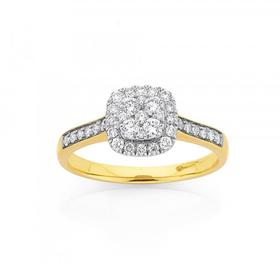 9ct-Gold-Diamond-Cushion-Halo-Shape-Ring on sale