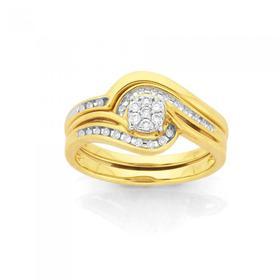 9ct-Gold-Diamond-Cluster-Bridal-Set on sale