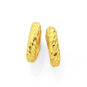 9ct-Gold-Half-Round-Diamond-Cut-Huggie-Earrings on sale