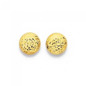 9ct-Gold-Diamond-Cut-Button-Stud-Earrings on sale