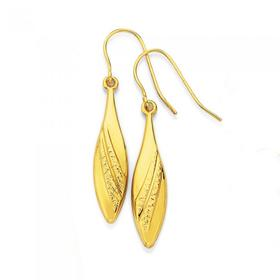 9ct-Gold-Diamond-Cut-Swirl-Pattern-Pointed-Hook-Drop-Earrings on sale