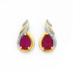 9ct-Gold-Created-Ruby-Diamond-Swirl-Drop-Stud-Earrings on sale