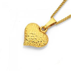 9ct-Gold-Diamond-Cut-Puff-Heart-Pendant on sale