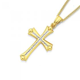 9ct-Gold-Two-Tone-Celtic-Cross-Pendant on sale