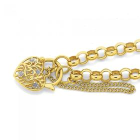 9ct-Gold-19cm-Round-Belcher-Diamond-Padlock-Bracelet on sale