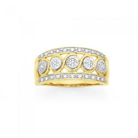9ct-Gold-Diamond-3-Row-Wide-Band on sale