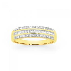 9ct-Gold-Diamond-3-Row-Band on sale
