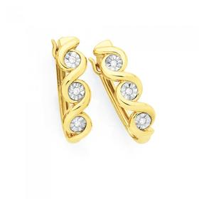 9ct-Gold-Diamond-Twist-Hoop-Earrings on sale