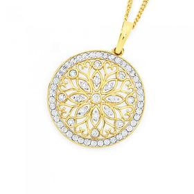 9ct-Gold-Diamond-Large-Flower-in-Circle-Enhancer-Pendant on sale