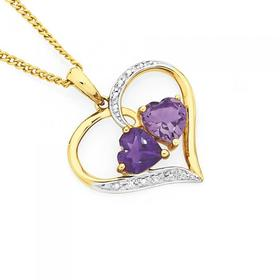 9ct-Gold-Amethyst-Diamond-Double-Heart-Open-Heart-Pendant on sale