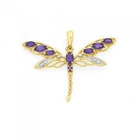 9ct-Gold-Amethyst-Diamond-Filigree-Dragonfly-Pendant on sale