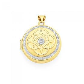 9ct-Gold-Two-Tone-Diamond-Round-Locket on sale